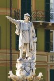 Christofer Columbus monument i Santa Margherita Ligure i Italien royaltyfria bilder