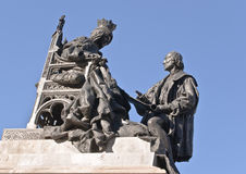 christopher columb Isabella królowej rzeźba obrazy royalty free