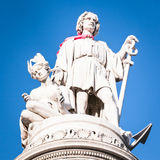 Christopher columbus. Famous antique statue of christopher columbus at genua/italy stock photo