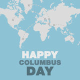 Christopher Columbus day poster map and ocean theme flat design Royalty Free Stock Photo