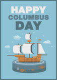 Christopher Columbus day poster ship and ocean theme flat design Royalty Free Stock Photography
