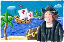 Christopher Columbus en el nuevo mundo, 1492 ilustración del vector
