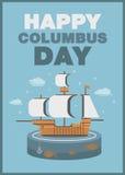 Christopher Columbus-het schip van de dagaffiche en oceaanthema vlak ontwerp Royalty-vrije Stock Fotografie