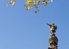 Christopher Columbus monument in Barcelona postcard. Royalty Free Stock Photo