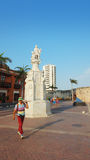 Christopher Columbus-Monument in der Piazza de la Aduana in der historischen Mitte von Cartagena de Indias Stockfotografie