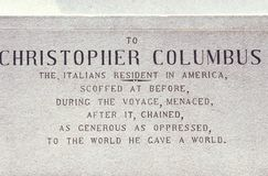 Christopher Columbus Plaque Columbus Circle, New York City, New York Arkivfoto