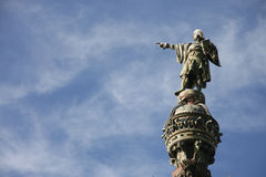 Christopher Columbus pointing towards America  in Barcelona Royalty Free Stock Photo