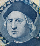 Christopher Columbus portrait on Bahamas one dollar banknote mac. Ro, money closeup Royalty Free Stock Images