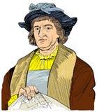 Christopher Columbus portrait in line art illustration stock illustration