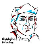 Christopher Columbus Portraitn stock de ilustración