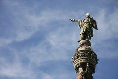 Christopher Columbus que señala hacia América en Barcelona Foto de archivo libre de regalías