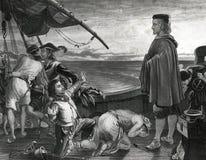 Christopher Columbus On Ship con el ejemplo del equipo stock de ilustración