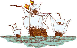 Christopher Columbus ships. Three ship of Christopher Columbus float to America Royalty Free Stock Images