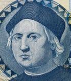 Christopher Columbus stående på Bahamas en dollarsedelmac Royaltyfria Bilder