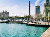 Christopher Columbus Statue in Barcelona Stock Photo