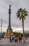 Christopher Columbus statue Barcelona Port. In Barcelona at the end of the famous Ramblas Alley the statue dedicated to the discoverer of America, Christopher Royalty Free Stock Photos