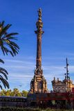 Christopher Columbus Statue in Barcelona, Spain Stock Photos