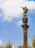 Christopher Columbus staty i Barcelona, Spanien Arkivfoto