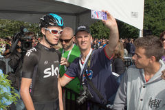 Christopher Froome posing with fan at the teams presentation cer Royalty Free Stock Images