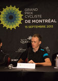 Christopher Froome przy elita konferencją prasową GPCQM, Quebe Obraz Stock