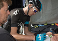 Christopher Froome signing shirt at the teams presentation cerem Stock Image