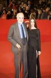 Christopher Lee en pax Vega in het Festival van de Film van Rome Stock Foto