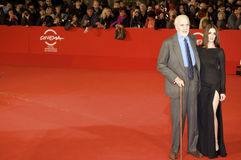 Christopher Lee and pax Vega in Rome Film Festival Stock Photography