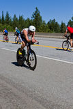 Christopher Legh in the Coeur d' Alene Ironman cycling event Stock Images