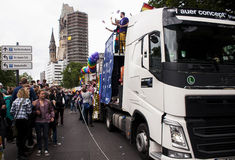 Christopher Street Day in Berlin. BERLIN, GERMANY - JUNE 21, 2014: Christopher Street Day.Crowd of people Participate in the parade celebrates gays, lesbians Stock Photos
