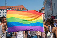 Christopher Street Day Munich 2015 - Parade with rainbow flag Royalty Free Stock Photos