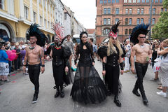 Christopher Street Day - a part of the parade in punk costumes Royalty Free Stock Photos