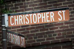 Christopher Street Sign from Greenwich Village NYC Stock Image