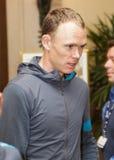 Christpher Froome som ankommer i Québec för pro-, turnerar att cykla händelse Arkivfoton