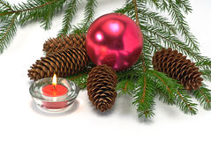 Christrmas tree, cone,,candle and balls Royalty Free Stock Image