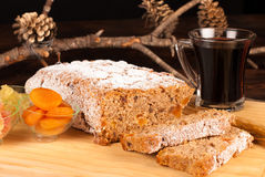 Christstollen with mulled wine Stock Photos