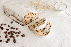 Christstollen on White Icing Sugar Stock Photography