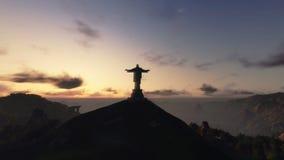 Christus das Redemeer bei Sonnenaufgang, Rio de Janeiro, Gesamtlänge auf Lager stock video