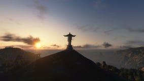 Christus das Redemeer bei Sonnenuntergang, Rio de Janeiro, Gesamtlänge auf Lager stock video