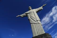 Christus de Verlosser bovenop Corcovado, Brazilië Stock Foto's