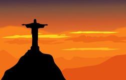 Christus de Verlosser & het Zonsonderganglandschap - Vector Royalty-vrije Stock Foto