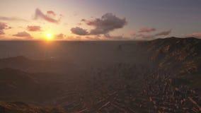 Christus de Verlosser, Rio de Janeiro, zonsopgang stock footage