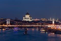 Christus de de Verlosserkathedraal, Moskva-rivier en Krymean bridgein e stock foto
