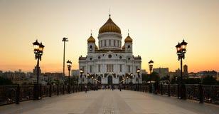 Christus die Retter-Kathedrale bei Sonnenuntergang Russland moskau lizenzfreie stockbilder