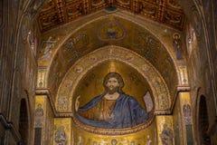 Christus-Fresko innerhalb Monreale-Kathedrale nahe Palermo Stockbild