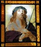 Christus in gebrandschilderd glasvenster Stock Foto's