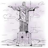 Christus het Verlosserstandbeeld, Brazilië stock illustratie