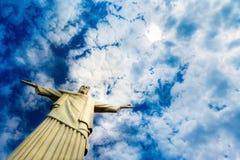 Christus het Verlosserstandbeeld in Rio de Janeiro Stock Foto