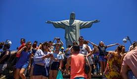 Christus het Verlosserstandbeeld, RIO ` S BIJ VOLLEDIGE DAG Stock Foto's