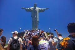 Christus het Verlosserstandbeeld, RIO ` S BIJ VOLLEDIGE DAG Stock Afbeeldingen