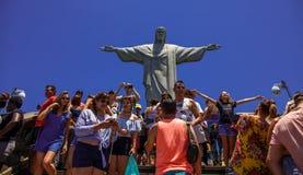 Christus het Verlosserstandbeeld, RIO ` S BIJ VOLLEDIGE DAG Royalty-vrije Stock Fotografie